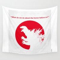 akira Wall Tapestries featuring No029-2 My Godzilla 1954 minimal movie poster by Chungkong