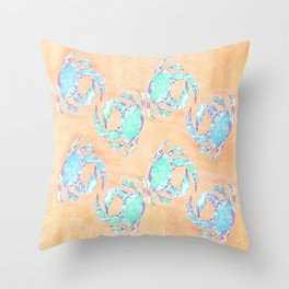 Crab orange blue nautical Throw Pillow