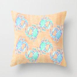 Crab orange blue nautical Throw Pillow