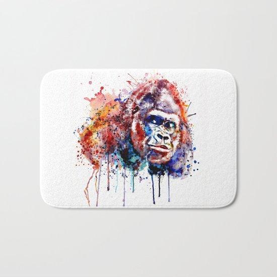 Gorilla Watercolor portrait Bath Mat