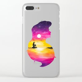 Ariel Sunset Double Exposure The little Mermaid Clear iPhone Case