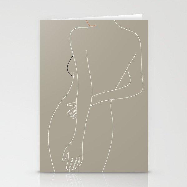 Minimal Line Art Woman Figure III Stationery Cards