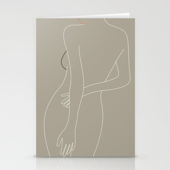 Minimal Line Art Woman Figure III Stationery Cards