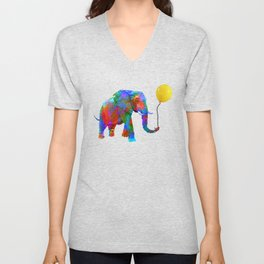 Crayon Colored Elephant with Yellow Balloon Unisex V-Neck