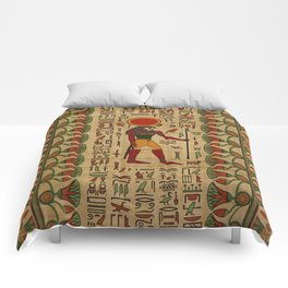 Egyptian Re-Horakhty  - Ra-Horakht  Ornament on papyrus Comforters