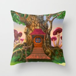 House and tree. Throw Pillow