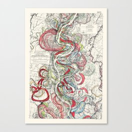 Beautiful Vintage Map of the Mississippi River Canvas Print