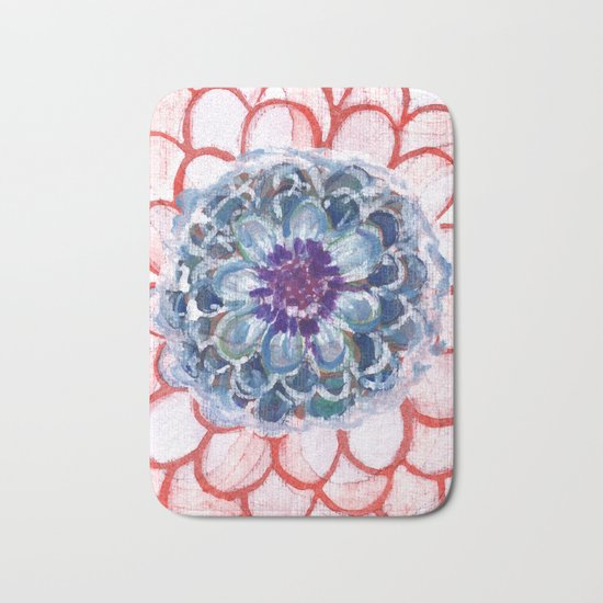 Centered Blue Blossom Bath Mat