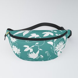 Passion Garden. Elegant Teal White Floral Pattern Fanny Pack