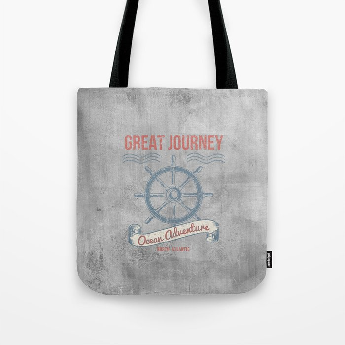 Maritime Design- Great Journey Ocean Adventure on gray abstract background Tote Bag
