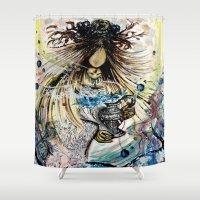 aquarius Shower Curtains featuring Aquarius by OnceUponAWonderland
