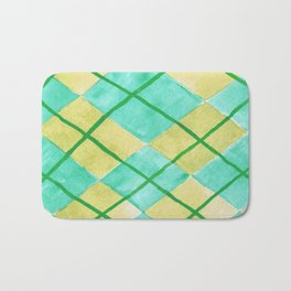 Hand Painted Classic Argyle Pattern Shades of Green Bath Mat