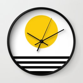 Midcentury Yellow Minimalist Sunset With Black Stripes Wall Clock