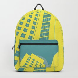 Yellow and Blue Building Simple Graphic Illustration Backpack