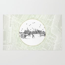 New York, New York City Skyline Illustration Drawing Rug