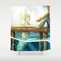 teeth Shower Curtains featuring Teeth by laya rose