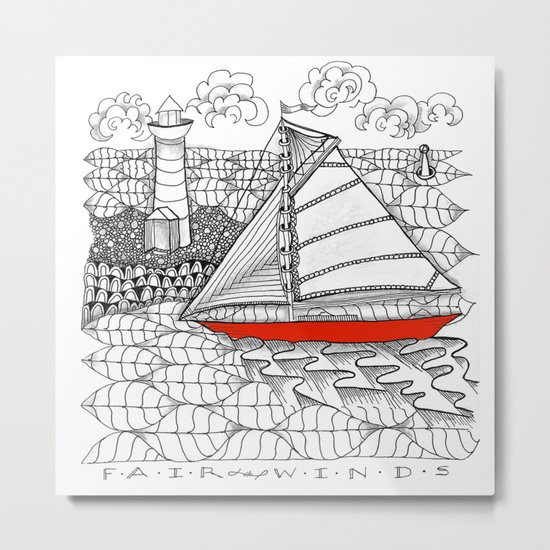 Sailors Dream Fair Winds Sailboat Zentangle Metal Print