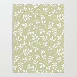 Assorted Leaf Silhouettes White on Lime Ptn Poster