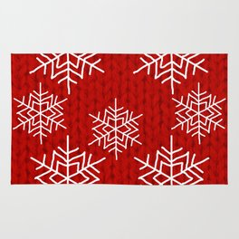 Red Knit & Snowflakes Rug