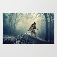 bigfoot Area & Throw Rugs featuring Misty Railway Bigfoot Crossing by Barrier _S_D