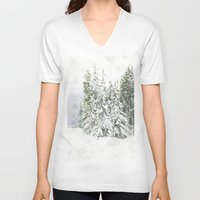 snowboarding V-neck T-shirts featuring Winter Fresh by Pure Nature Photos