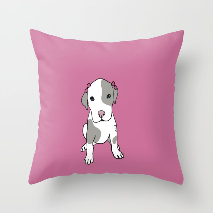 Millie The Pitbull Puppy Throw Pillow