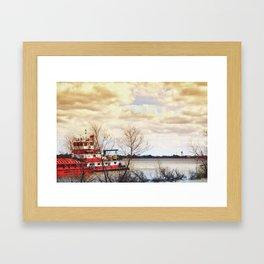 Barge on the Mississippi Framed Art Print