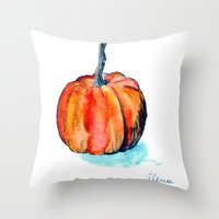 pumpkin Throw Pillows featuring Pumpkin by Elena Sandovici