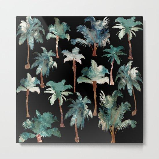 Palm Trees at Night Metal Print