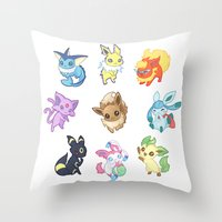 umbreon Throw Pillows featuring Colorful Evolutions by Kaydee Elaine - Odd Kitten Art