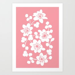 White flowers on a bubblegum pink background Art Print