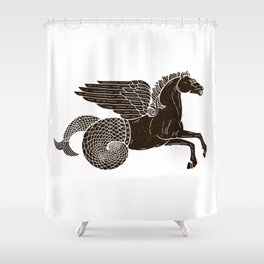 Hippocampus Sea Horse Myth Retro Vintage Rough Design Shower Curtain