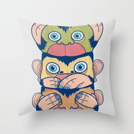 Hear no evil, Speak no evil, See no evil Throw Pillow