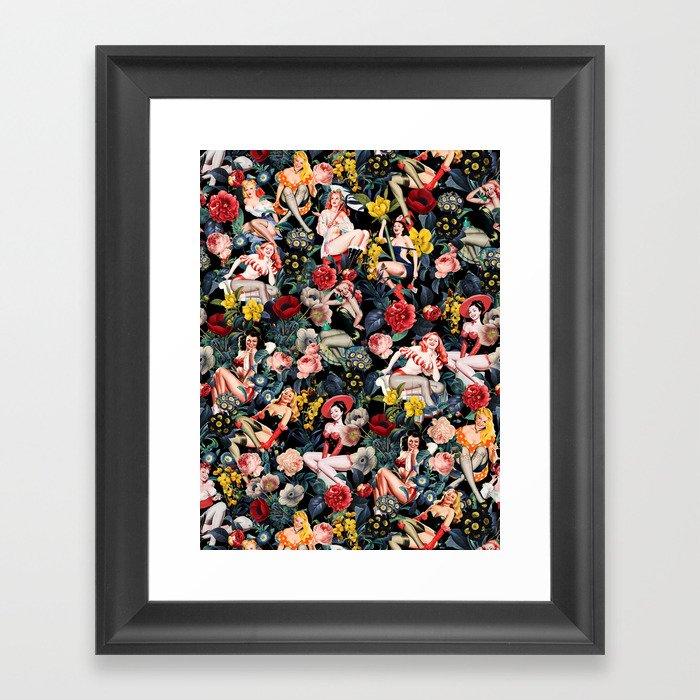 Floral and Pin-Up Girls IV Gerahmter Kunstdruck