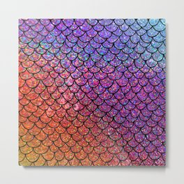 Colorful Glitter Mermaid Scales I Metal Print