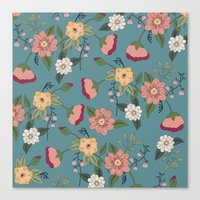 vintage floral Canvas Prints featuring Floral Vintage by Juliana Zimmermann