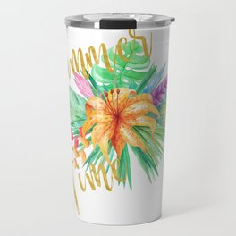 Tropical leaves and flowers summer time gold brush script Travel Mug