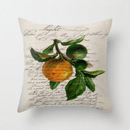 Shabby French botanical print tangerine clementine mandarin orange Throw Pillow