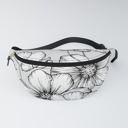 Flowers Black and White Fanny Pack