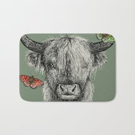 Heather the Highland Cow, Butterflies, pen and ink illustrations, green Bath Mat
