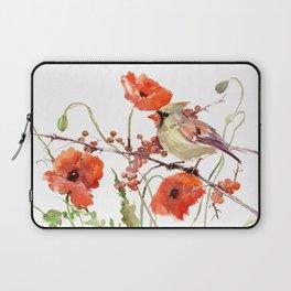 Cardinal Bird and Poppies, Poppy Flowers Laptop Sleeve