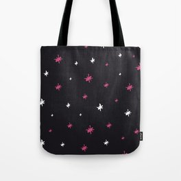 Hand painted black pink white modern abstract stars Tote Bag