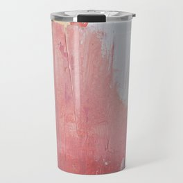Melody: a pretty minimal abstract painting in gold pink and white by Alyssa Hamilton Art Travel Mug