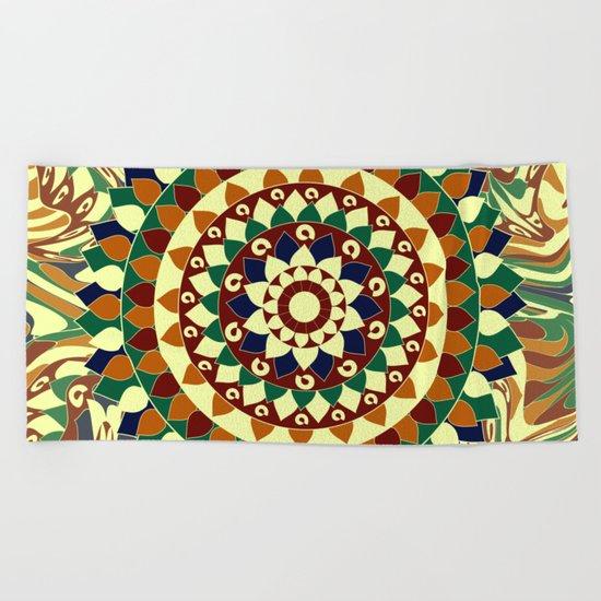 Mandala in brown and blue Beach Towel