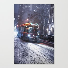 King St Streetcar in the snow - Toronto Winter 2016 Canvas Print