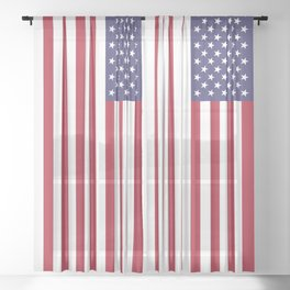 Flag of USA, 10:19 scale prints Sheer Curtain