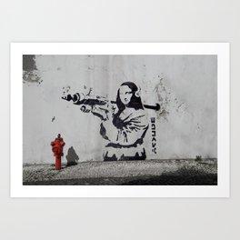 mona lisa - banksy Art Print