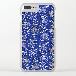 wonky wildflower waterfall ... in indigo Clear iPhone Case