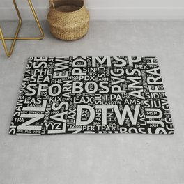 World Airport Codes (All Black) Rug