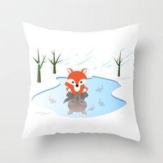 Little Fox On Ice Throw Pillow